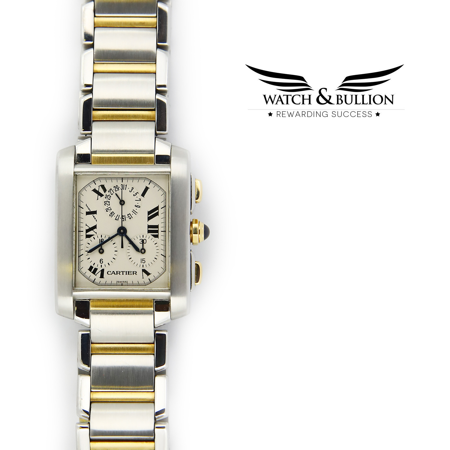 Cartier Tank Francaise Chronoflex 2303 Quartz Steel and Gold