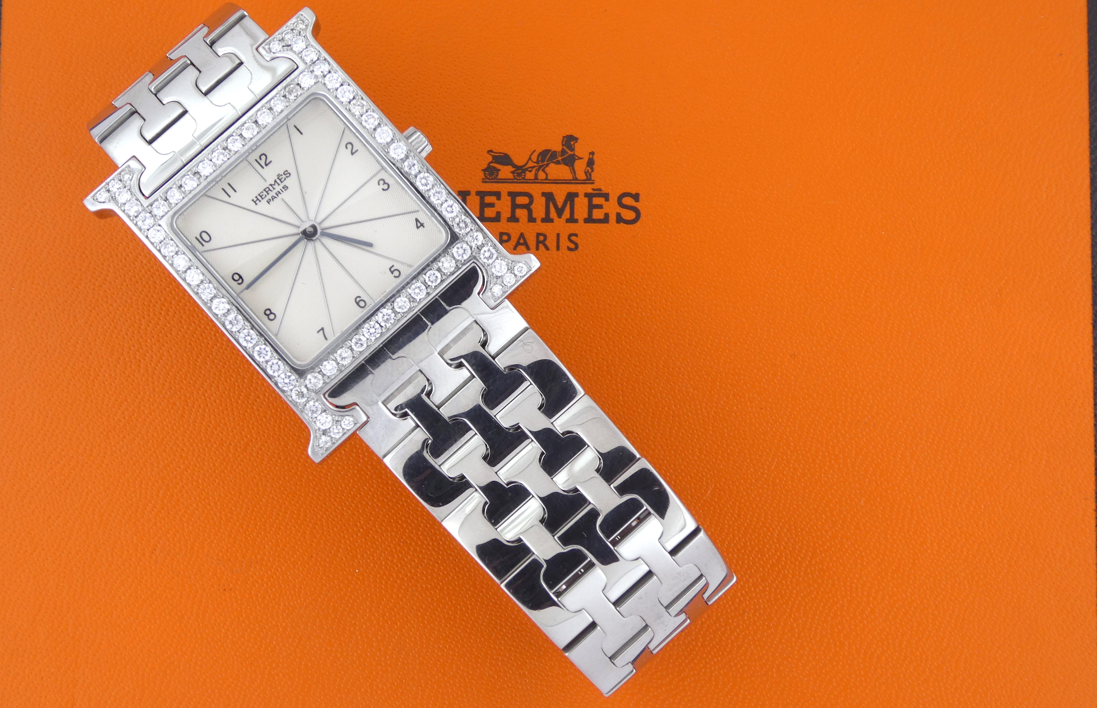 Hermès H Heure HH1.710 Stainless Steel After Set Diamonds