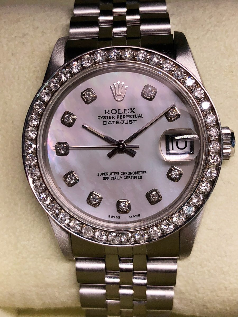 Rolex Datejust 31mm Afterset MOP Dial with Diamond Markers & Bezel