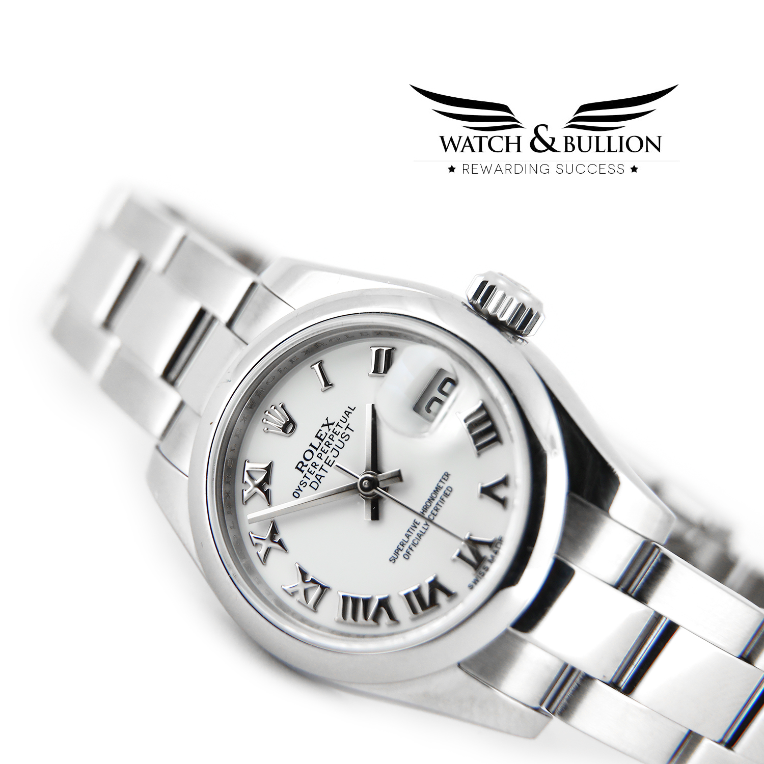 Rolex Lady-Datejust Stainless Steel White Roman Dial 179160