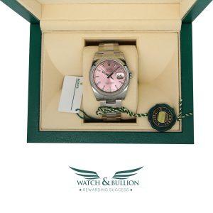 Rolex Datejust Steel 36mm Smooth Bezel Pink Index Dial