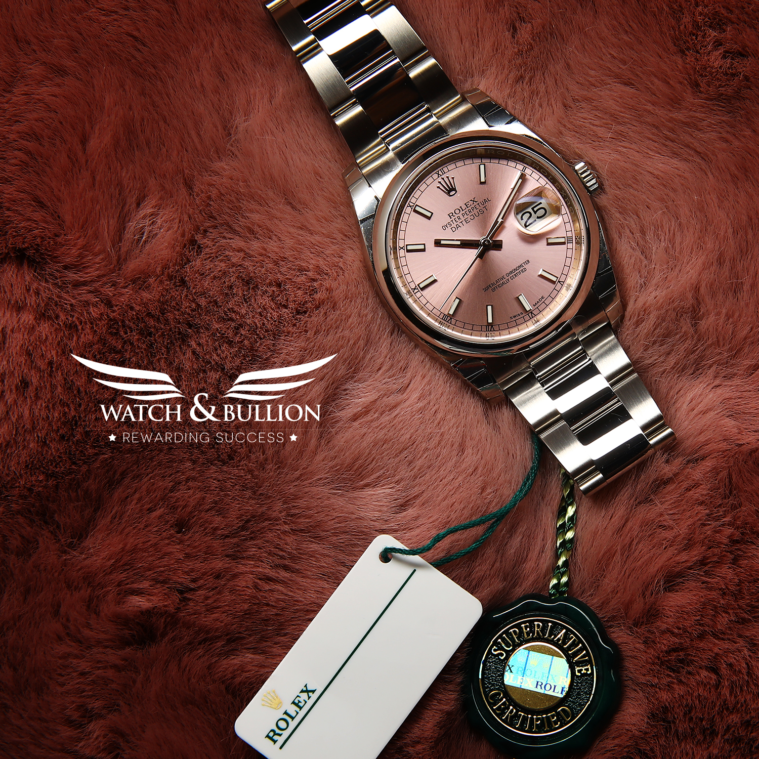 Rolex Datejust Steel 36mm Smooth Bezel Pink Index Dial