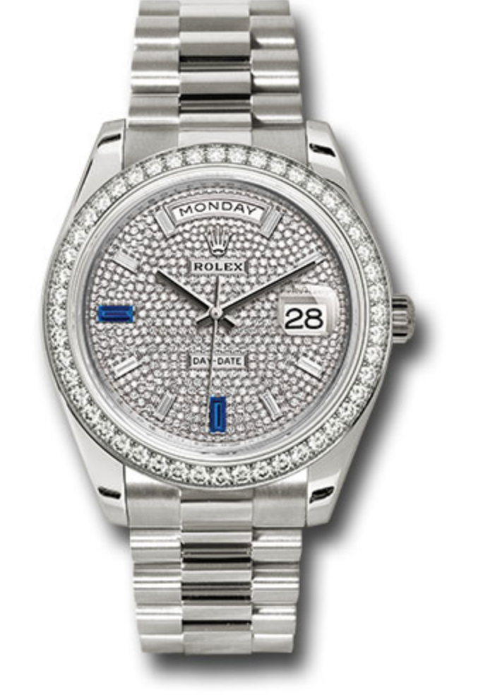 Rolex Day-Date 40 White Gold Diamond Paved Baguette Diamond Dial