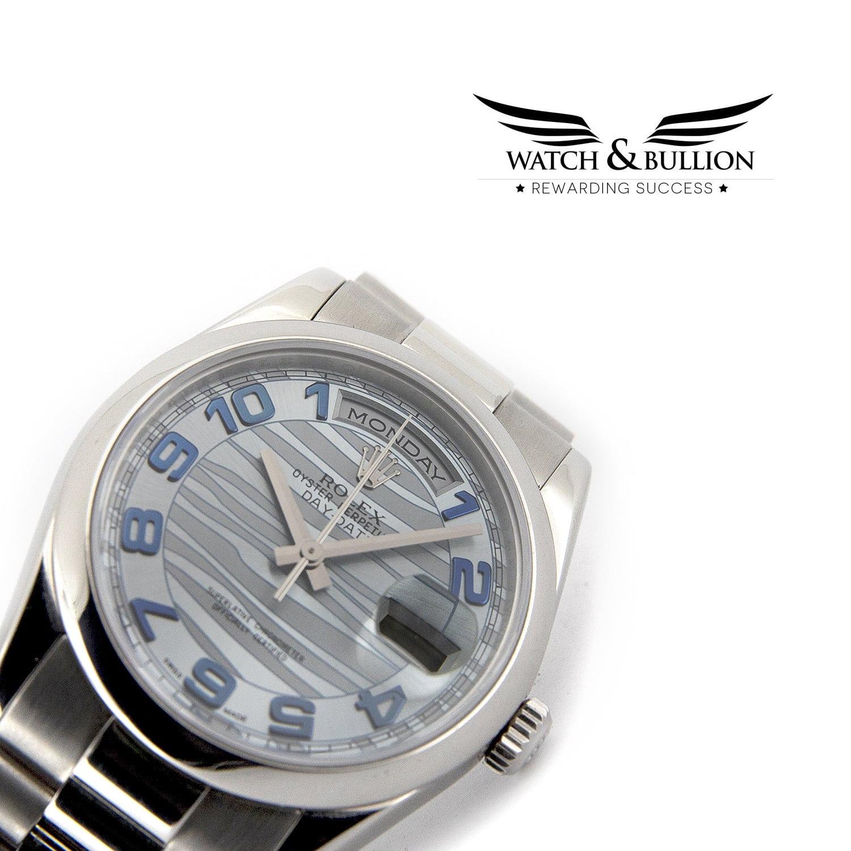 Rolex Day-Date Glacier Blue Wave Arabic Dial 118206
