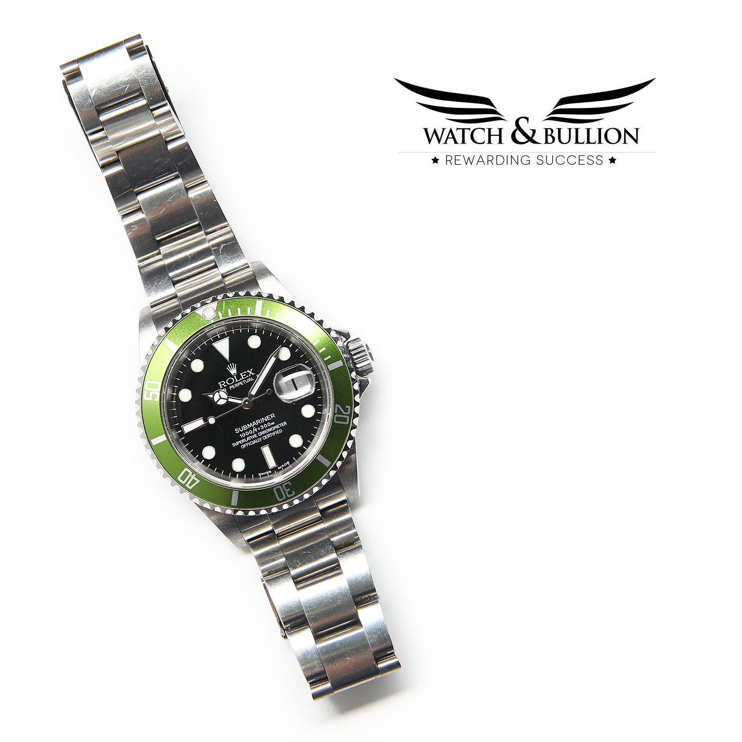 Rolex Submariner Kermit, 50th Anniversary 16610LV T, Flat four, F Series