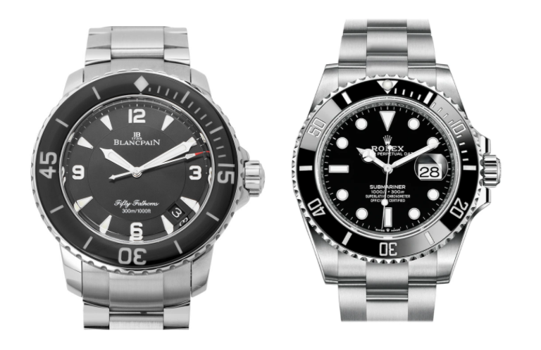 blancpain fifty fathoms and submariner side by side
